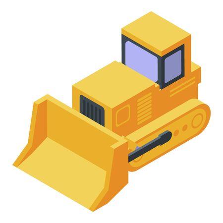 Yellow tractor bulldozer icon. Isometric of yellow tractor bulldozer vector icon for web design isolated on white background