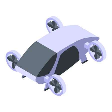 Self driving flying taxi icon, isometric style Imagens - 144064909