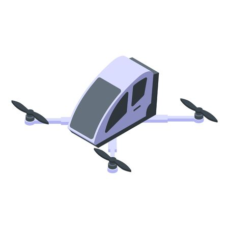 Futuristic helicopter icon, isometric style