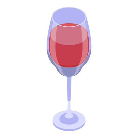 Red wine glass icon, isometric style