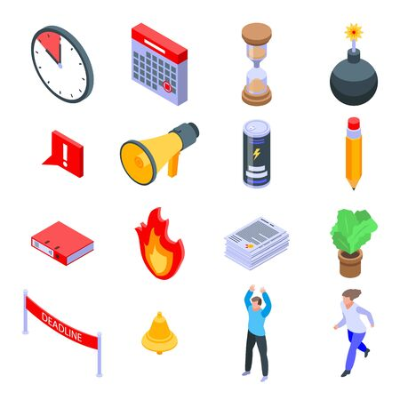 Deadline icons set. Isometric set of deadline vector icons for web design isolated on white background
