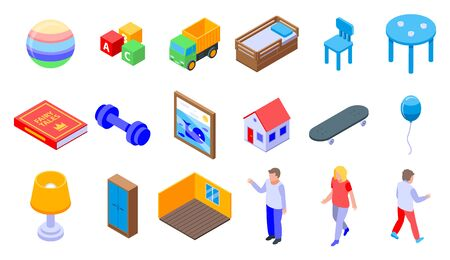 Childrens room icons set, isometric style
