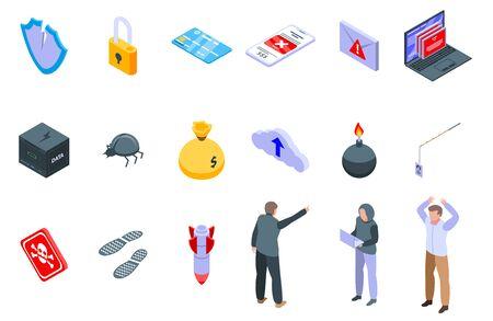 Fraud icons set, isometric style