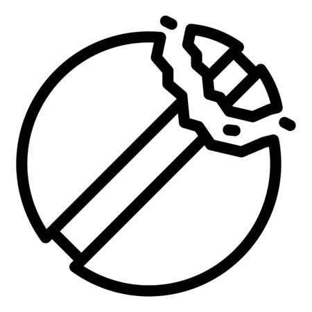 Cracked pill icon, outline style