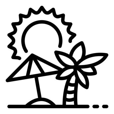 Sunny island beach icon, outline style