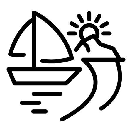Yacht on beach icon, outline style 向量圖像