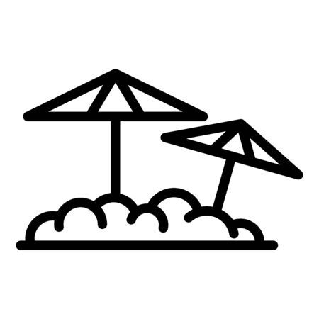 Beach umbrella icon, outline style