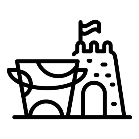 Sand bucket castle icon, outline style