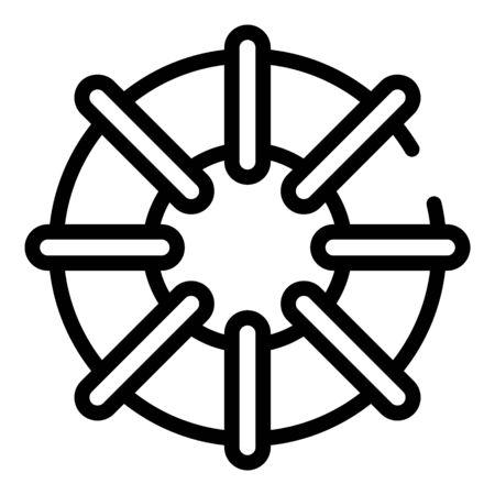 Beach umbrella icon, outline style