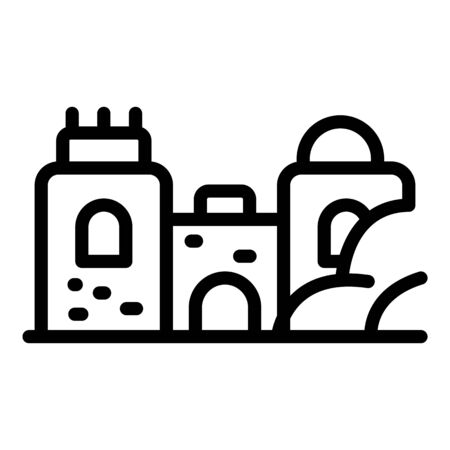 Big sand castle icon, outline style 向量圖像