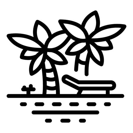 Palm tree beach icon, outline style