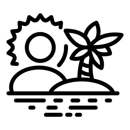 Palm tree island icon, outline style