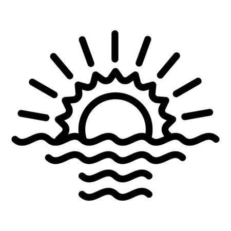 Beach sunrise icon, outline style