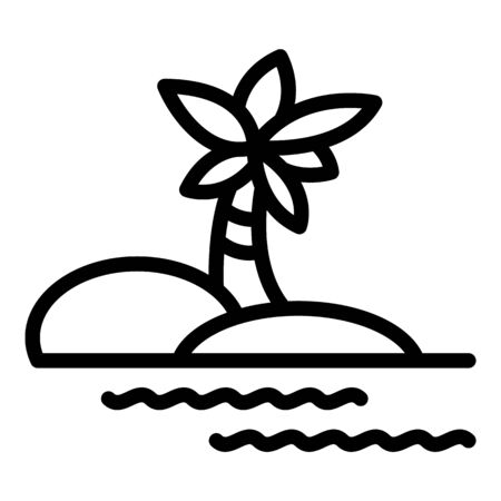 Coconut palm tree island icon. Outline coconut palm tree island vector icon for web design isolated on white background Banque d'images - 144166651