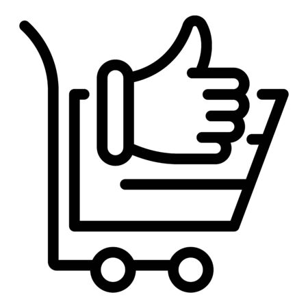 Shop cart thumb up icon. Outline shop cart thumb up vector icon for web design isolated on white background Banque d'images - 144167003