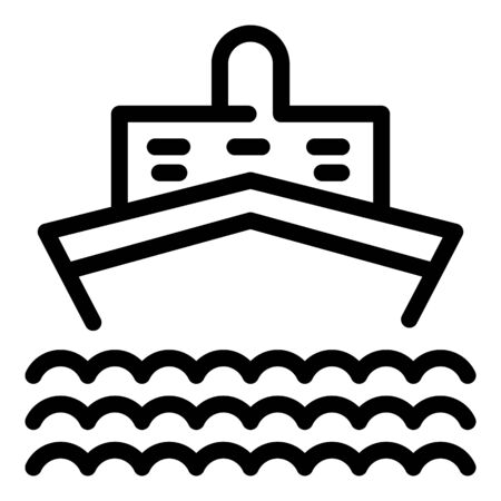 Naval cruise ship icon, outline style