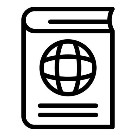 International passport icon, outline style