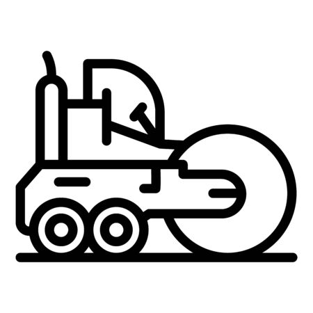 Machine road roller icon. Outline machine road roller vector icon for web design isolated on white background