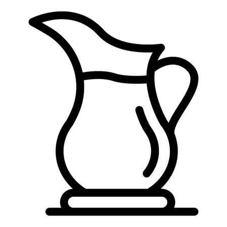 Hot tea jug icon. Outline hot tea jug vector icon for web design isolated on white background Иллюстрация