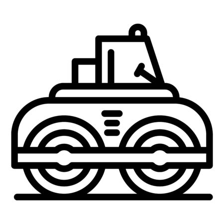 Asphalt road roller icon. Outline asphalt road roller vector icon for web design isolated on white background