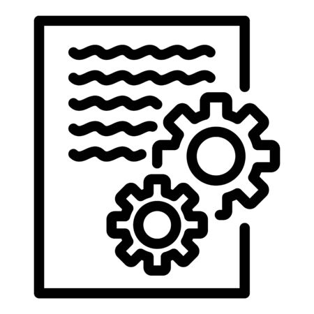 Gear system report icon, outline style Ilustrace