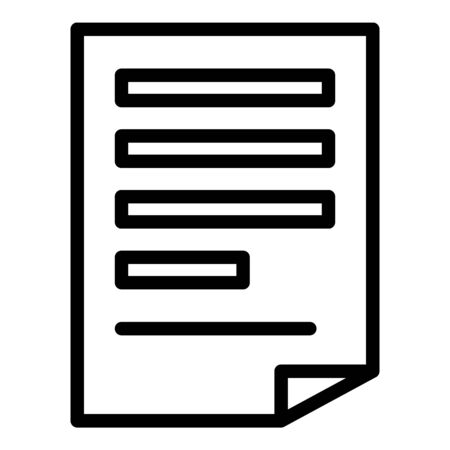 Paper document report icon, outline style