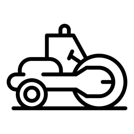 Construction road roller icon. Outline construction road roller vector icon for web design isolated on white background