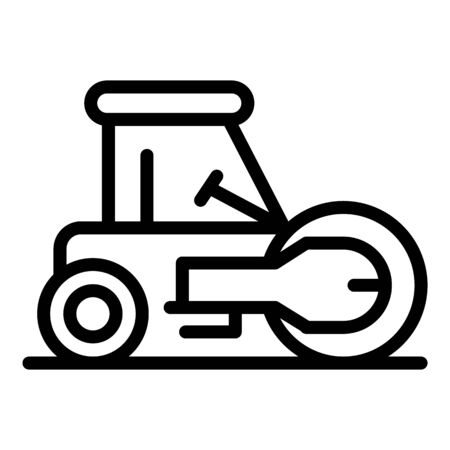 Work road roller icon. Outline work road roller vector icon for web design isolated on white background Vectores