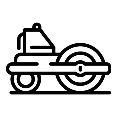 Road roller equipment icon, outline style