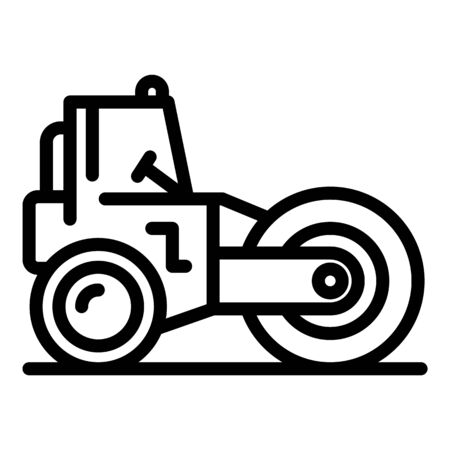 Road roller machinery icon, outline style