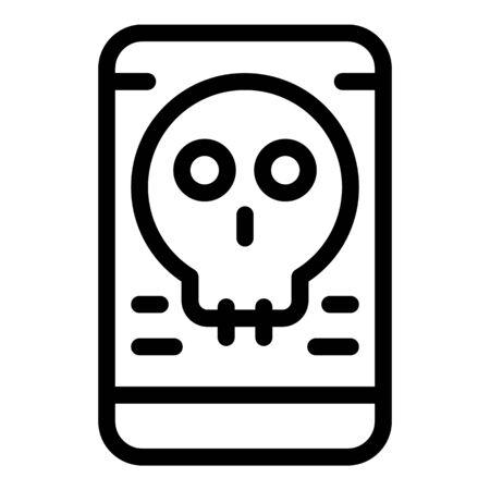 Smartphone virus icon, outline style 向量圖像