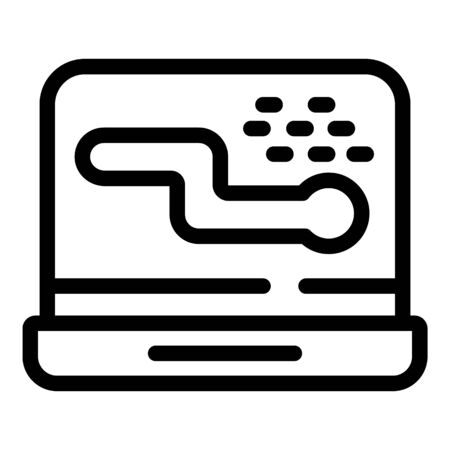 Laptop virus worm icon, outline style