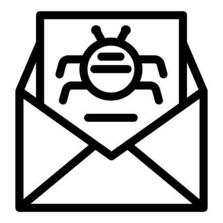 Email virus fraud icon, outline style