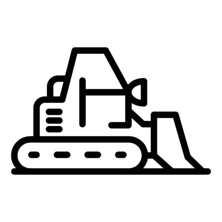 Big bulldozer icon. Outline big bulldozer vector icon for web design isolated on white background