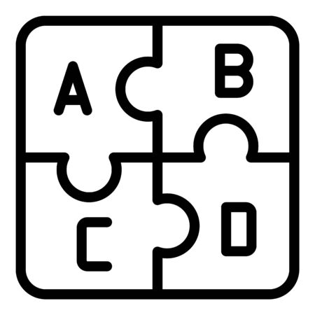 Puzzles with the letter icon, outline style