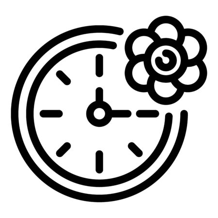 Clock and flower icon. Outline clock and flower vector icon for web design isolated on white background