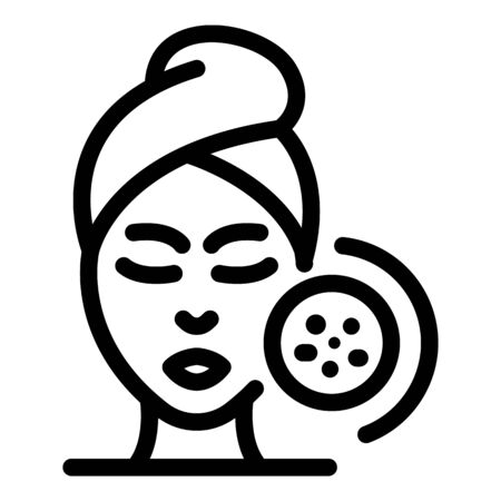 Female face and acne icon, outline style Illustration