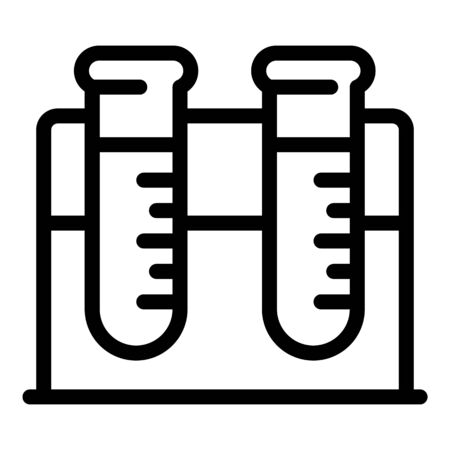 Two test tubes on a stand icon, outline style Illustration