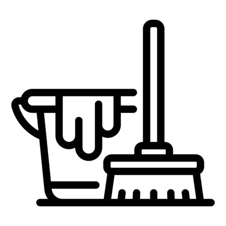 Cleaning room service icon, outline style