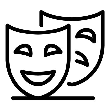Theatre masks icon, outline style