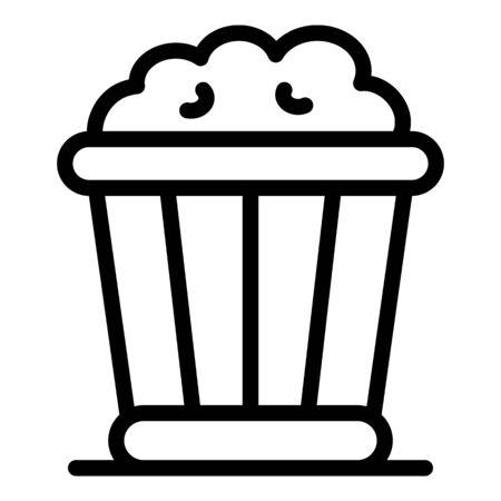 Popcorn box icon. Outline popcorn box vector icon for web design isolated on white background Çizim