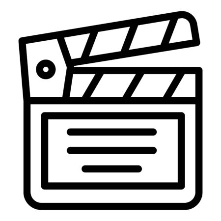 Movie clapper icon, outline style