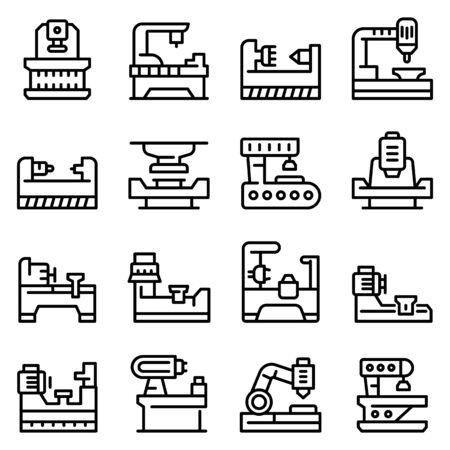 Lathe icons set, outline style