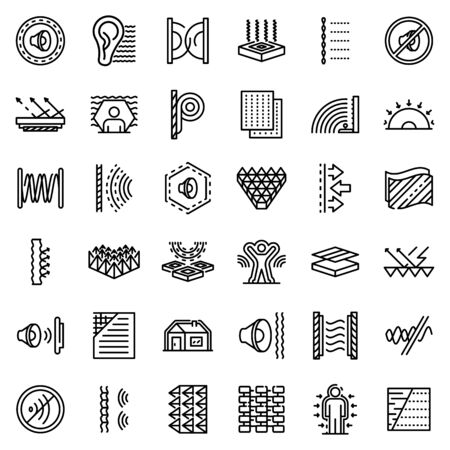 Soundproofing icons set, outline style Vectores