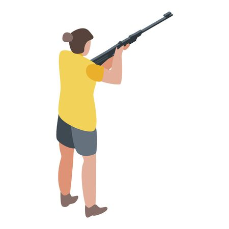 Woman shooter icon, isometric style