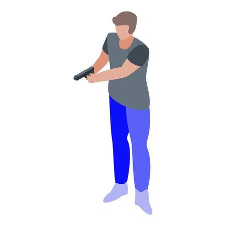 Pistol shooter icon, isometric style