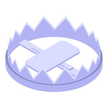 Animal metal trap icon. Isometric of animal metal trap vector icon for web design isolated on white background