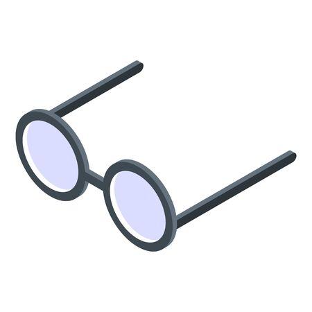 Wizard round eyeglasses icon, isometric style Vettoriali