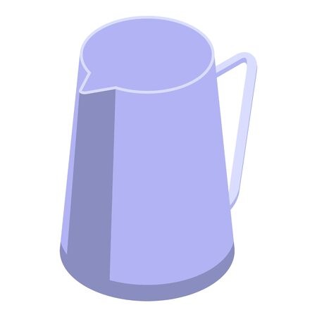 Steel coffee jug icon, isometric style