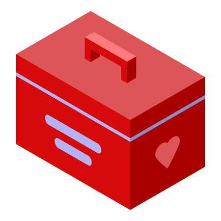 Donate organs box icon, isometric style Illustration